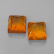 Square Cabochon Amber Pair