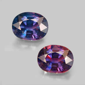 oval facet color changing sapphire gemstone image