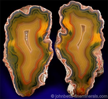 Sliced Condor Agate Nodule Matched Halves from San Rafael District, Mendoza Province, Argentina
