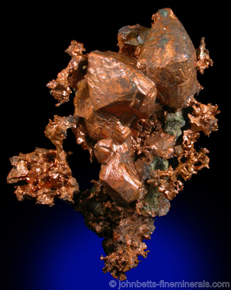 Sharp Copper Crystals from National Mine, Rockland, Keweenaw Peninsula Copper District, Ontonagon County, Michigan
