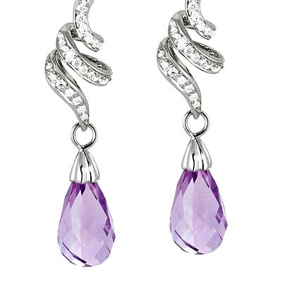 Dangling Amethyst Diamond Earrings