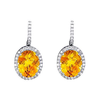 Citrine Diamond Gold Earrrings