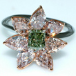 Green Diamond Flower Ring