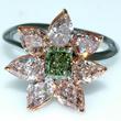 Green Diamond Flower Ring