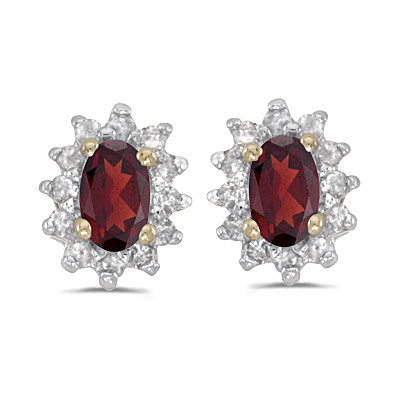 Garnet Diamond Earrings