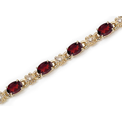 Garnet Diamond Gold Bracelet Gemstone Jewelry Image