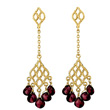 Garnet & Gold Dangling Earrings