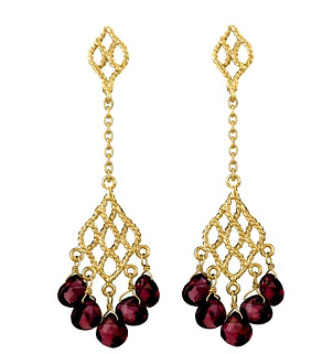 Garnet Gold Dangling Earrings