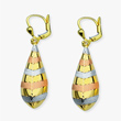 Tricolor Gold Drop Earrings