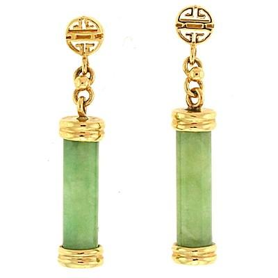 Jade Gold Drop Earrings