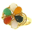 Multicolored Jade Gold Ring