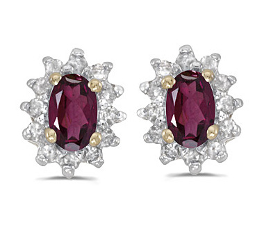 Rhodolite Garnet Diamond Earrings