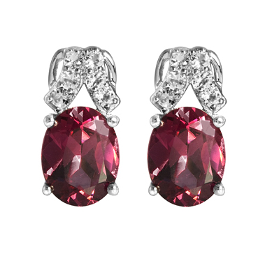 Rhodolite Garnet White Topaz Earrings