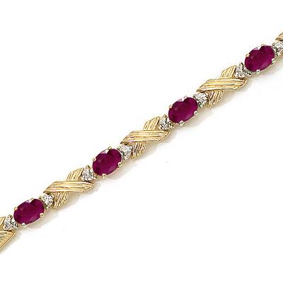Ruby and Diamond Gold Bracelet