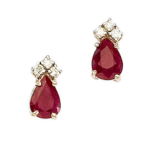 Pearshape Ruby Earrings