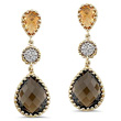 Smoky Quartz Gold Earrings