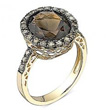 Smoky Quartz & Diamond Gold Ring