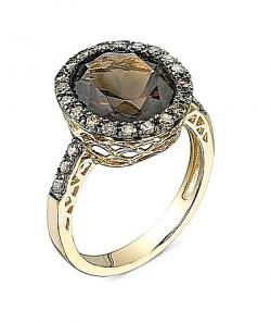 Smoky Quartz Diamond Gold Ring Gemstone Jewelry Image