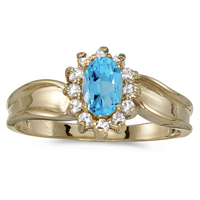 Blue Topaz Gold Rings
