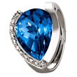 Deep Blue Topaz & Diamond Ring