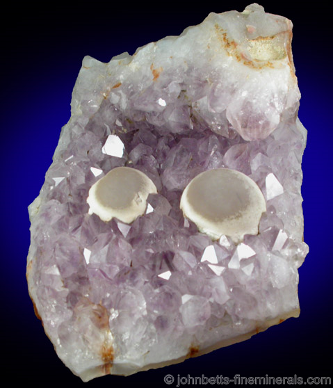 Botryoidal Fluorite on Amethyst from Tekhdi, Madhya Pradesh, India.