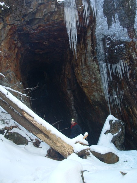 Icicles Hanging from Mine Entrance