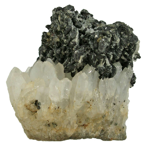 Acanthite on Quartz Crystals