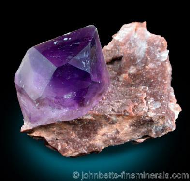 Single Amethyst Crystal on Matrix from Balkhash Lake, near Preozersk, Karaganda Oblast, Kazakhstan