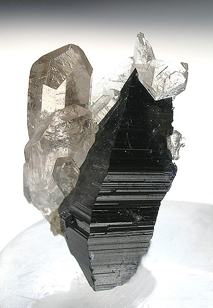Distorted Anatase Crystal With Quartz