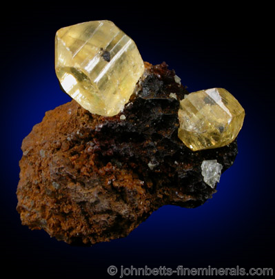 Yellow Anglesite Crystals on Matrix from Broken Hill, New South Wales, Australia