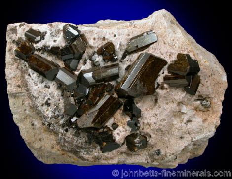 Buergerite Crystals on Matrix