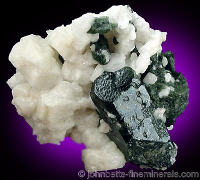 Dark Green Diopside in Albite