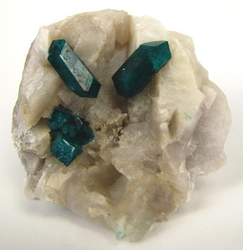 Dioptase Crystals on Quartz