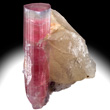 Pink Elbaite on Quartz