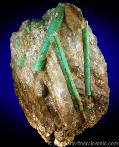 Elongated Emerald Crystals in Matrix