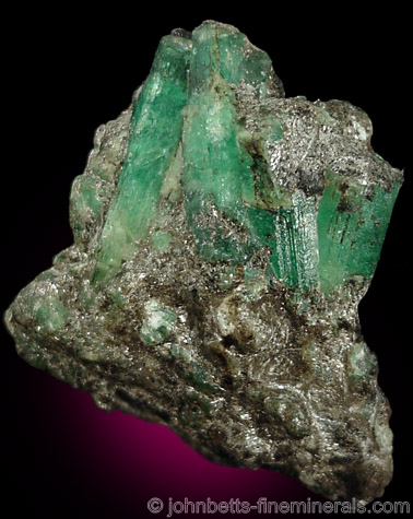 Emerald Crystals in Schist
