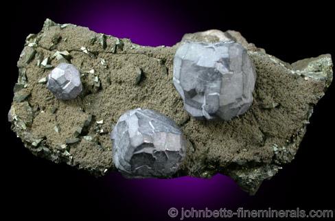 Complex Galena Crystals on Matrix