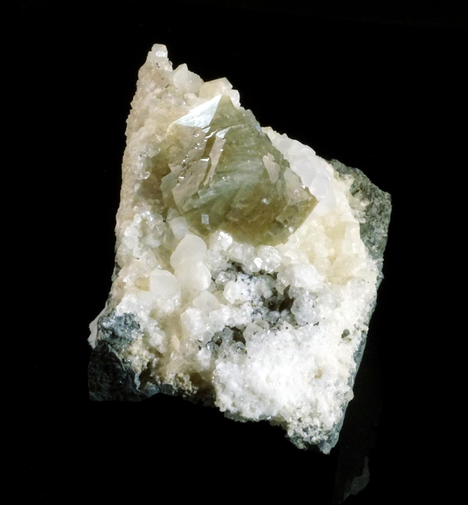 Grayish-Green Heulandite on Calcite