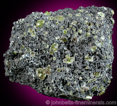Hawaiian Peridot in Volcanic Rock