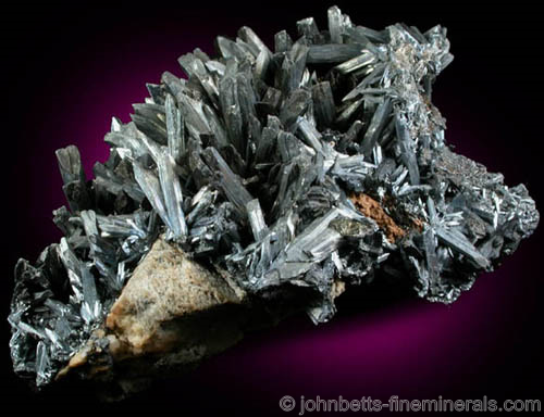 Terminated Stibnite Crystal Cluster
