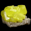 Bright Yellow Sulfur on Aragonite