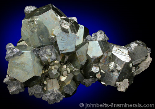 Tetrahedrite on Pyrite Crystals