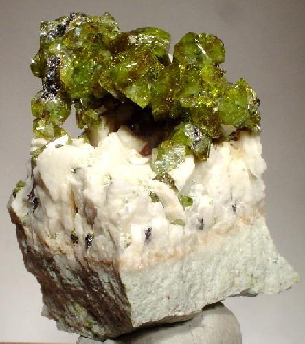Green Titanite Cluster on Albite