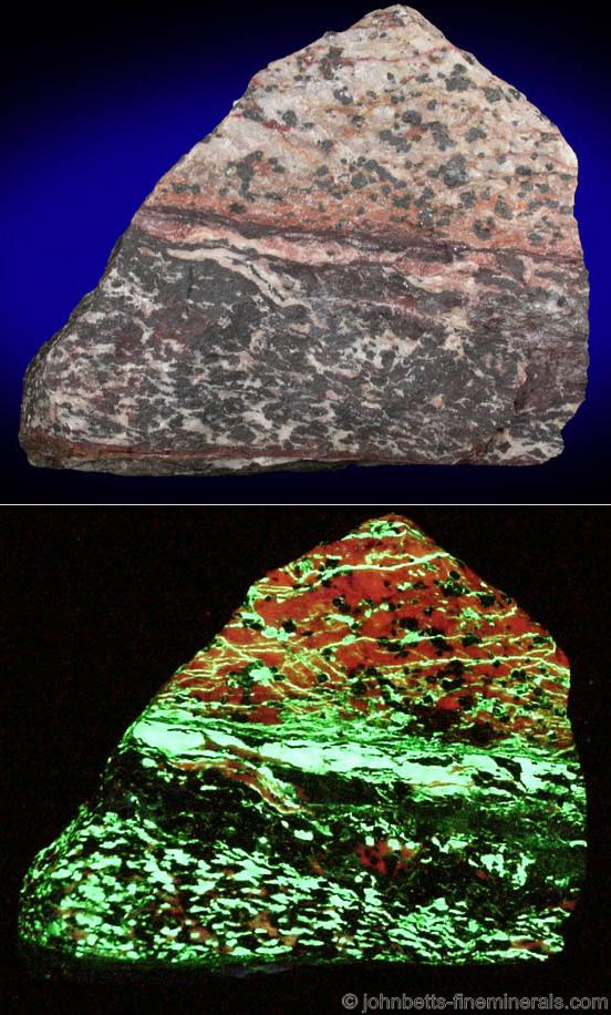 Willemite, Franklinite Veins in Calcite